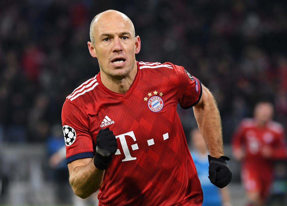 Arjen Robben dejará las filas del Bayern Múnich después de diez años defendiendo la camisola del equipo bávaro. (Foto Prensa Libre: AFP)