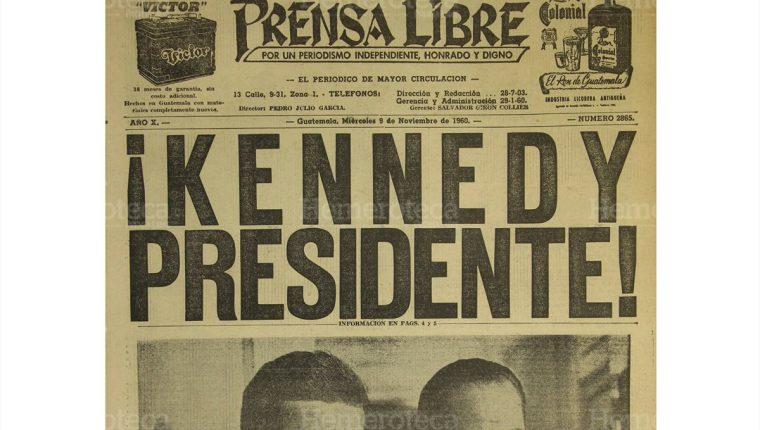 Portada de Prensa Libre en la cual se dio a conocer la victoria de John Kennedy en las elecciones de 1960.(Foto: Hemeroteca PL)