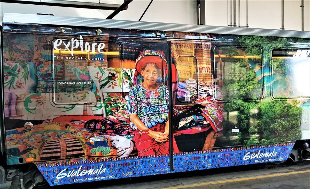 En San Francisco, California se instaló en trenes, según las imágenes del Inguat que muestran la promoción (Foto, Prensa Libre: Inguat).