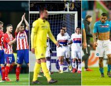 El Atleti y el Leipzing festejan, mientra los jugadores del Nápoli mostraron su frustración. (Foto Prensa Libre: Agencias)