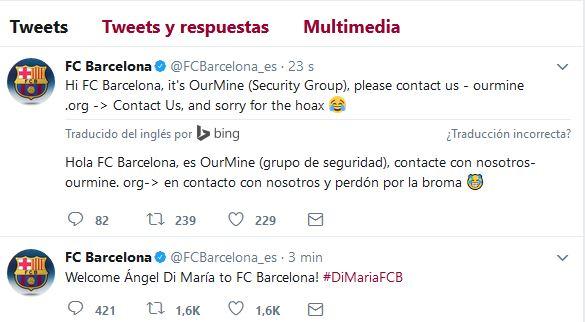 Tuits publicados en la cuenta de Twitter del FC Barcelona el pasado martes 22. (Foto Prensa Libre: Twitter).