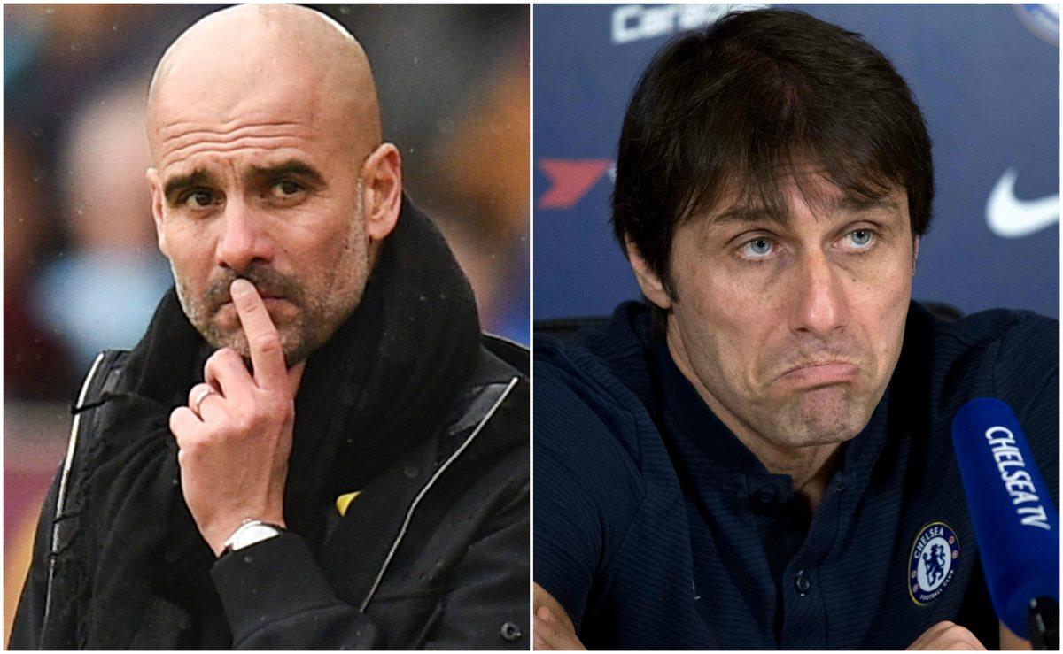 Pep Guardiola y Antonio Conte, técnicos del Manchester City y Chelsea, respectivamente. (Foto Prensa Libre: AFP)