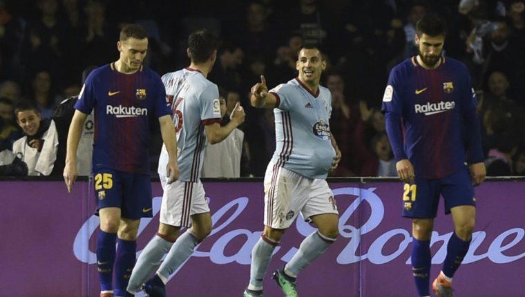 Jonny Castro festeja el segundo del Celta en el duelo frente al Barcelona. (Foto Prensa Libre: AFP)