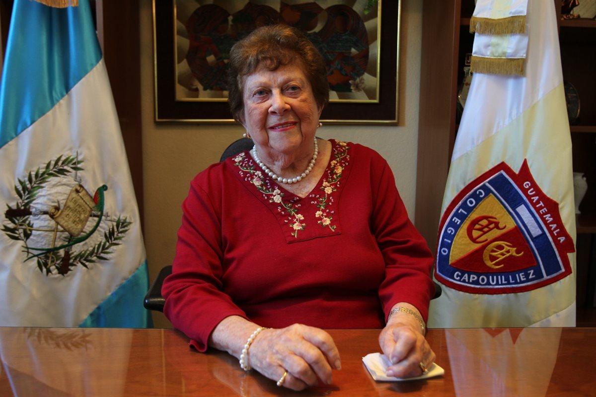 Blanca Pérez Guisasola de Arathoon falleció a los 99 años. Dedicó 75 años a la educación y dirigió el colegio Capouilliez de 1957 a 2013. (Foto Prensa Libre: Cortesía)