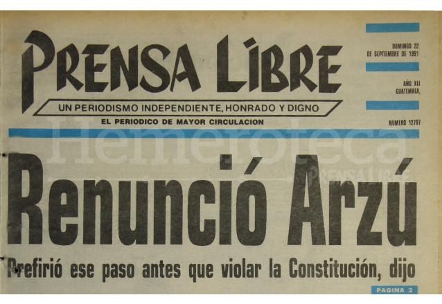 Caso Belice: renuncia canciller Arzú en 1991