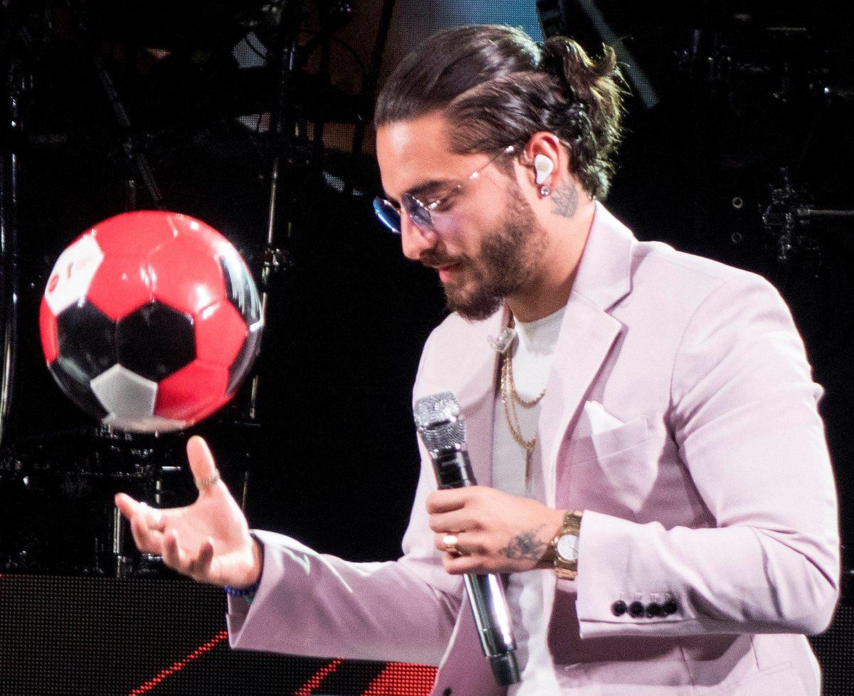 Maluma, durante la presentación de Colors, la canción oficial de Rusia 2018. (Foto Prensa Libre: EFE)