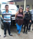 Los tres capturados en Teculután, Zacapa. (Foto Prensa Libre: Víctor Gómez).
