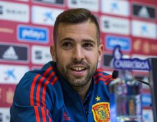 Jordi Alba en conferencia de prensa, con la Selección de España. (Foto Prensa Libre: EFE)