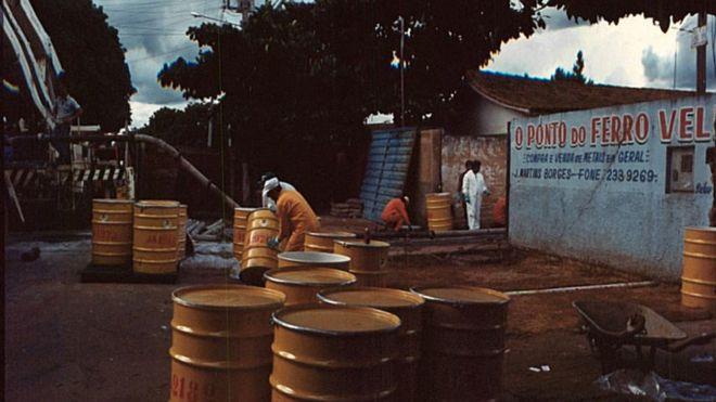 Ocurrió en Brasil en 1987. El trabajo posterior de descontaminación en Goiânia fue enorme. (CNEN)