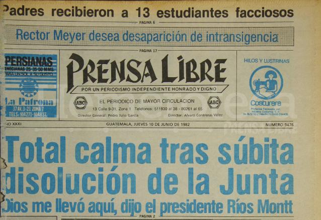 1982: se disuelve la Junta, asume Ríos Montt