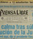 Titular de Prensa Libre del 10 de junio de 1982 informando sobre la disolución de la Junta Militar que gobernaba el país. (Foto: Hemeroteca PL)