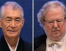 Tasuku Honjo y James P Allison, ganadores del Nobel de Medicina 2018. (Foto Prensa Libre: AFP)