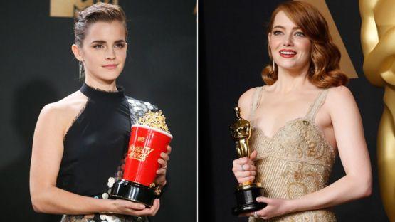 """Emma Watson y Emma Stone con sus premios en las películas la """"Bella y la Bestia"""" y """"La La Land"""". REUTERS"""