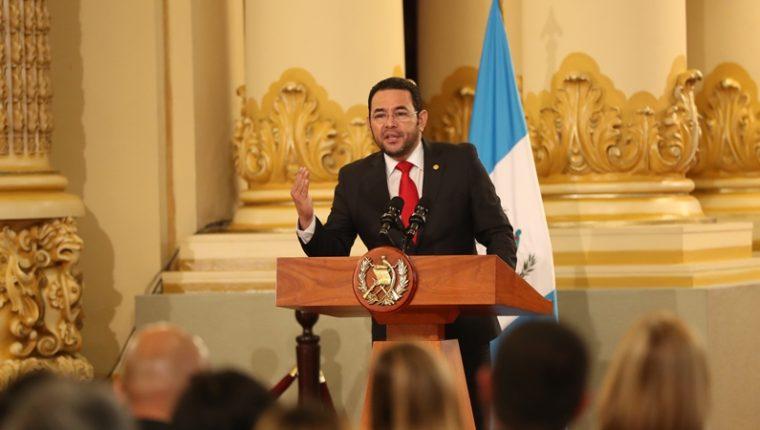 El presidente Jimmy Morales durante una actividad en el Palacio Nacional este miércoles. (Foto Prensa Libre: Esbin García).