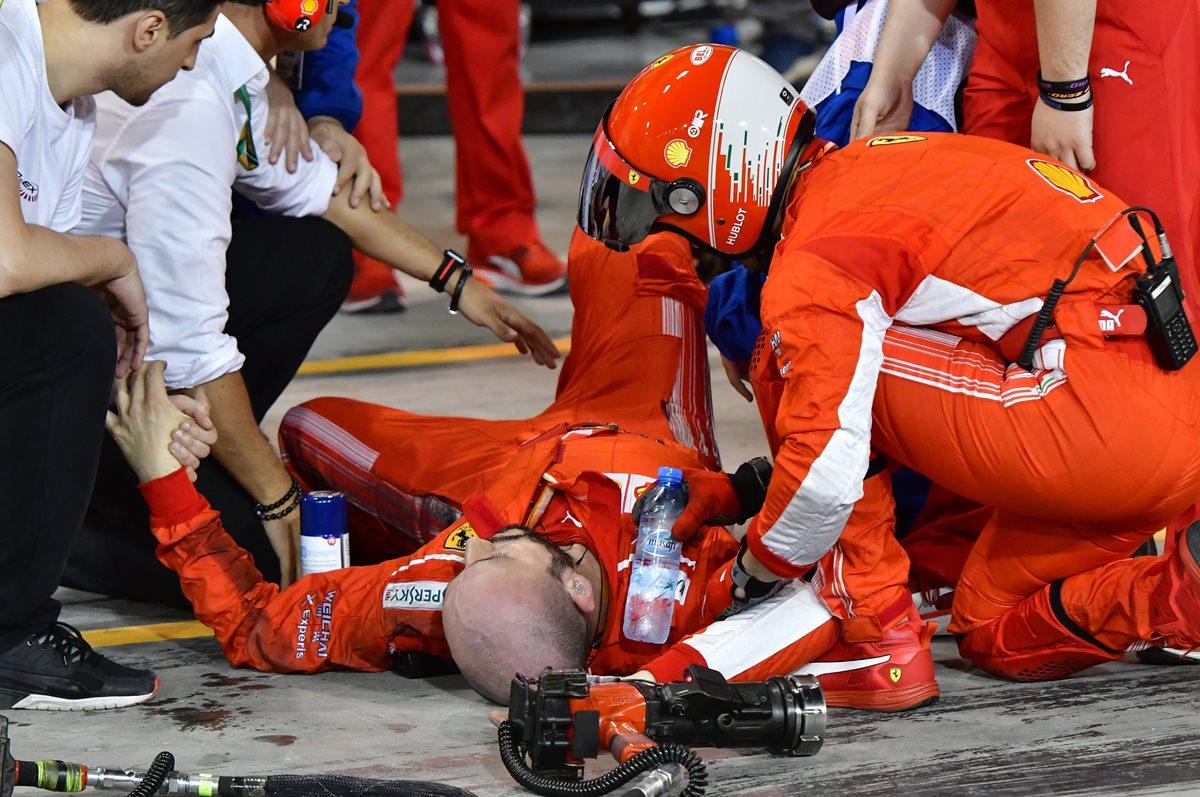 Raikkonen atropelló a un mécanico de Ferrari durante su parada en pits