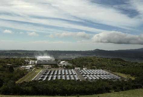 Vista panorámica del Parque Solar Miravalles, la primera gran planta de Costa Rica para generar electricidad, inaugurada la semana última.