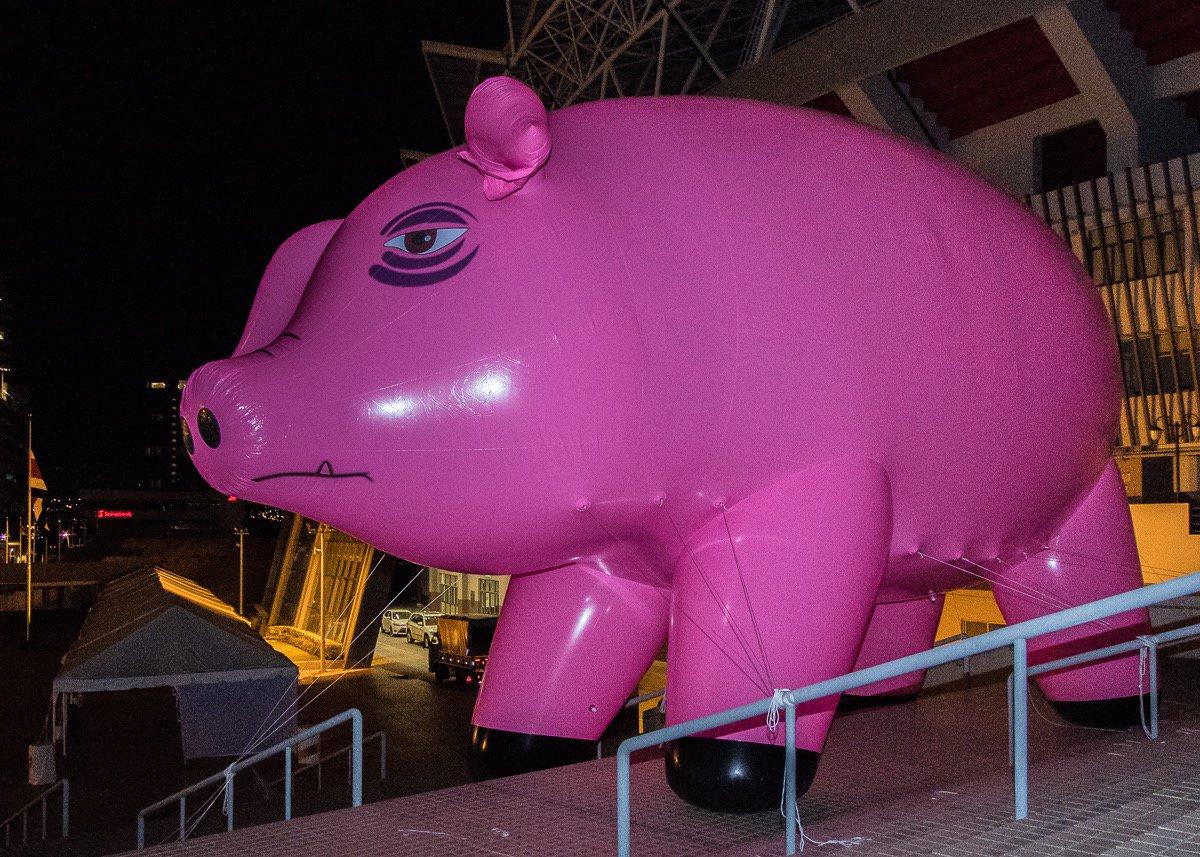 Un cerdo rosado, símbolo de la música de Pink Floyd y Roger Waters, apareció en Costa Rica (Foto Prensa Libre: Twitter / StayHumanCR).