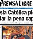 Portada del 19/11/2010 donde la Iglesia Católica pide al Congreso que anule la pena de muerte. (Foto: hemeroteca PL)