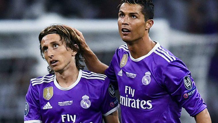 Modric y Cristiano Ronaldo conformaban una dupla explosiva en el Real Madrid de Zinedine Zidane. (Foto Prensa Libre: Hemeroteca)