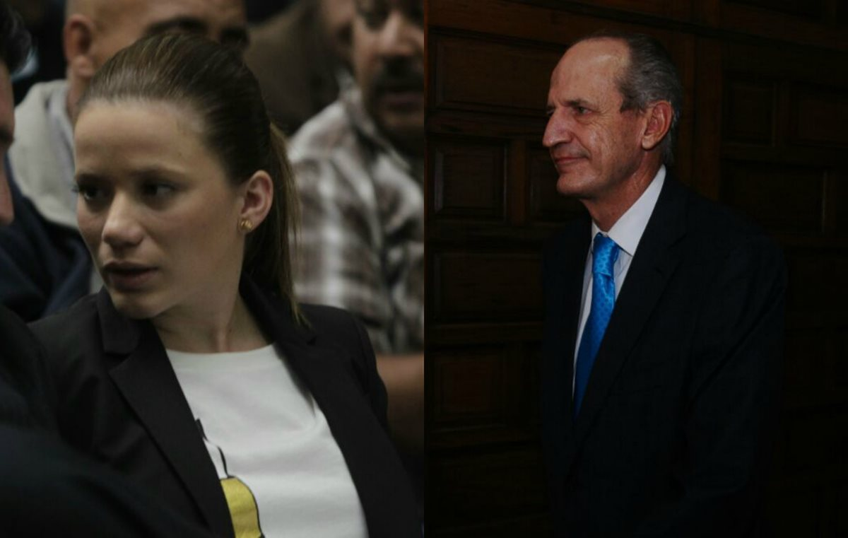 Daniela Beltranena y Flavio Montenegro se presentan a la Sala de Vistas de la CSJ para enfrentar cargos por Cooptación del Estado. (Foto Prensa Libre: Paulo Raquec)