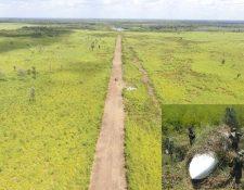La pista clandestina donde aterrizó la avioneta —inserta— tiene una longitud de 1.8 kilómetros por 300 metros de ancho. (Foto Prensa Libre: Rigoberto Escobar)