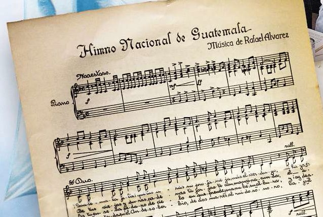 Partitura del Himno Nacional de Guatemala, compuesto por Rafael Álvarez Ovalle. (Foto: Hemeroteca PL)