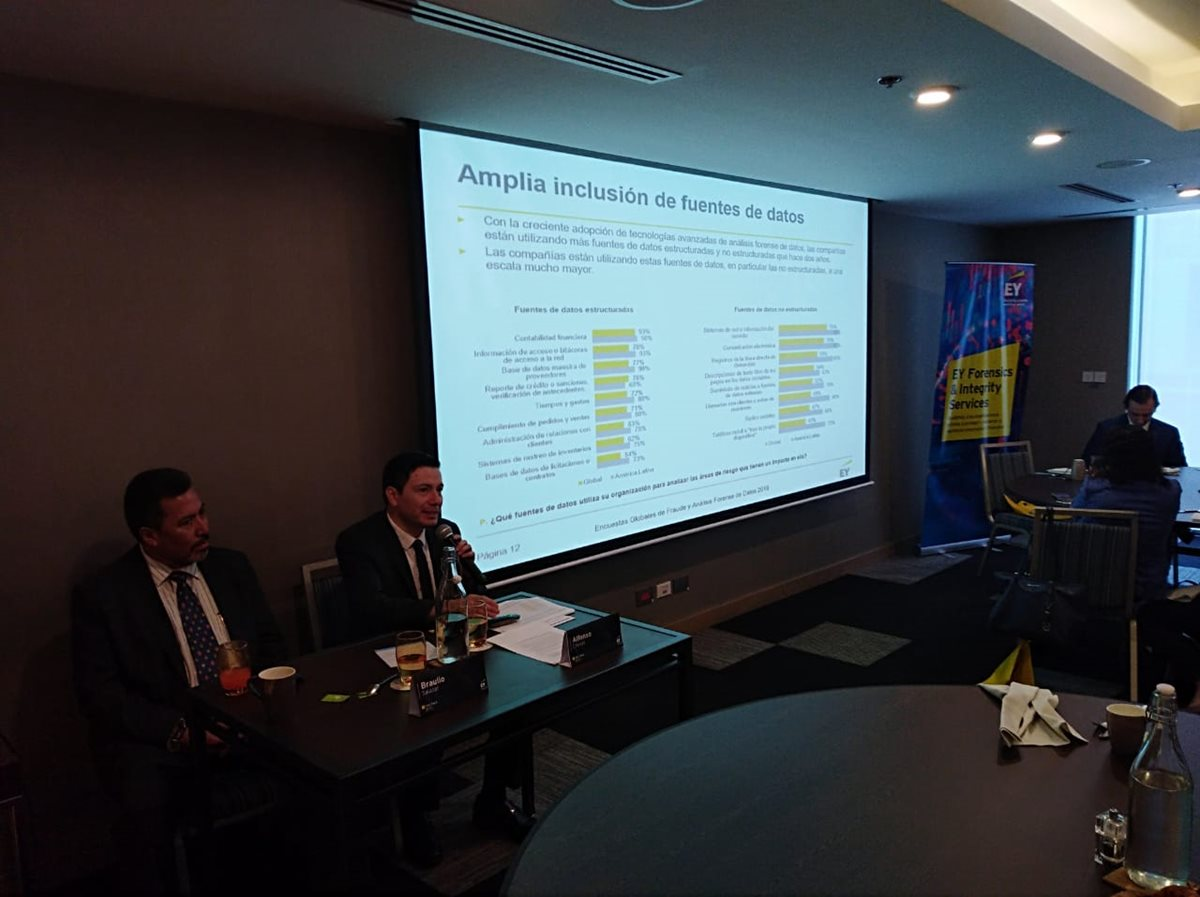 Braulio Salazar, socio director de EY Guatemala y Alfonso Crespo, socio del área forense de EY para Centroamérica y Panamá, exponen el resultados de las encuestas de fraude y análisis forense de datos del 2018. (Foto, Prensa Libre: EY).