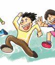 El juego de tenta aún se juega entre muchos niños. Ilustración Prensa Libre: Kevin Ramírez.