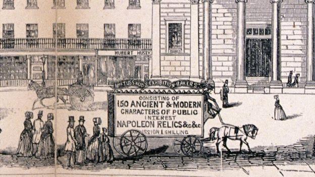 Las carrozas que transportaban sus figuras de cera eran carteles publicitarios. GETTY IMAGES