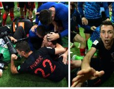 """Momento en el que el fotógrafo salvadoreño fue """"aplastado"""" por los jugadores de Croacia. (Foto Prensa Libre: Twitter @FelipeOvalle)"""