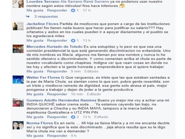Reacciones de los usuarios de Facebook en la página de Codisra ante la denuncia por el uso de nombre María y el adjetivo Chula. (Foto Prensa Libre: Facebook)