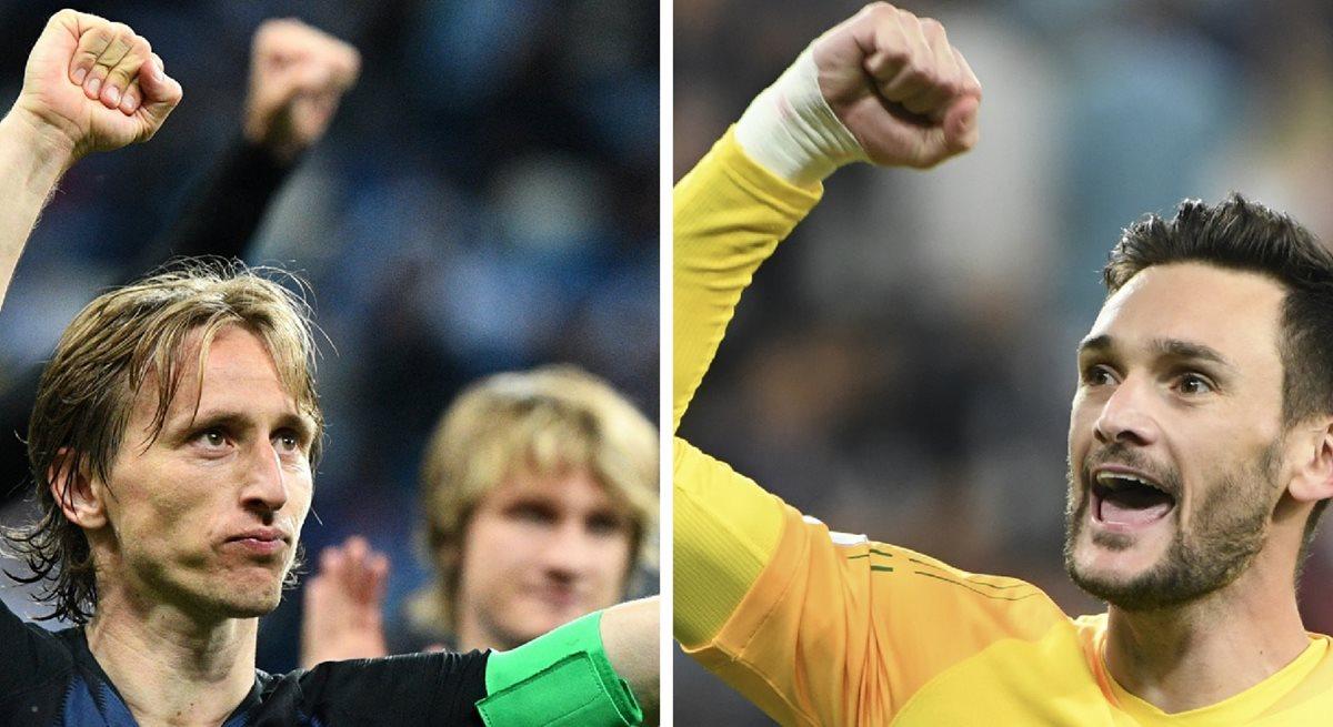Luka Modric y Hugo Lloris son los líderes innatos de las selecciones de Croacia y Francia respectivamente. (Foto Prensa Libre: AFP)