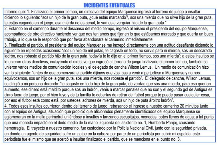 Este es el reporte arbitral de los incidentes ocurridos en el partido Marquense - Antigua GFC. (Foto Prensa Libre: Fedefut)