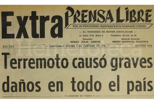 Titular de la edición especial de Prensa Libre del 5 de febrero de 1976. (Foto: Hemeroteca PL)