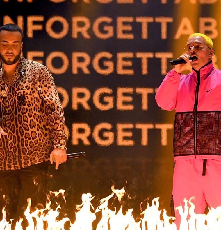 French Montana y J Balvin cantan juntos en la ceremonia (Foto Prensa Libre: AFP).