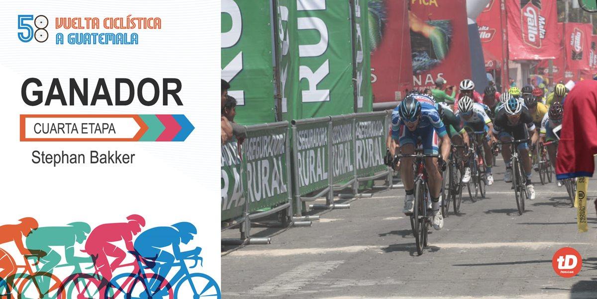 Stephan Bakker ganó la cuarta etapa de la 58 Vuelta a Guatemala. (Foto Prensa Libre: Norvin Mendoza)