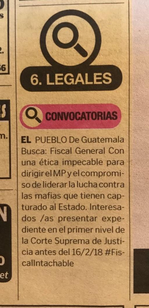 El anuncio fue publicado en la sección de clasificados, para incentivar la participación de profesionales. (Foto Prensa Libre: Hemeroteca PL)