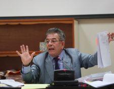 El titular del Juzgado de Mayor Riesgo B, Miguel Ángel Gálvez, durante la audiencia de etapa intermedia del caso Cancerbero. (Foto Prensa Libre: Erick Ávila)