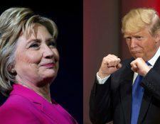 La demócrata Clinton y el republicano Trump buscarán la presidencia de EE. UU. en las elecciones del próximo 8 de noviembre. Fotos Prensa Libre: Justin Sullivan-AFP / Jae C. Hong-AP