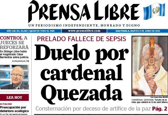 2012: duelo por el Cardenal Quezada Toruño