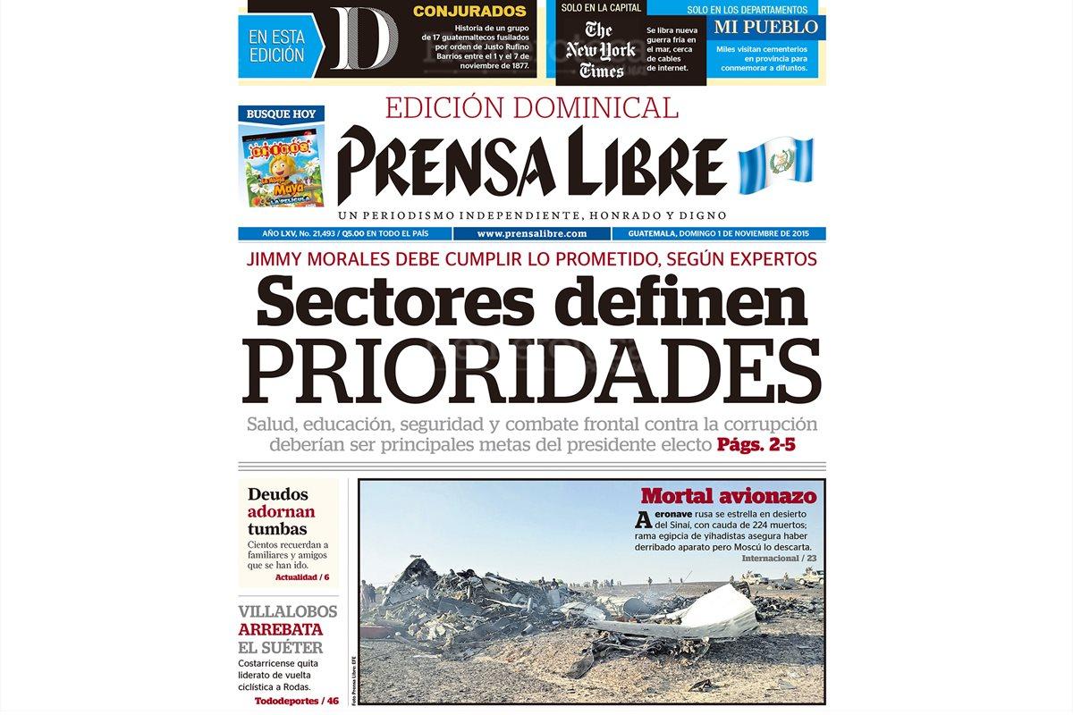 Portada de Prensa Libre del 01/11/2015, avión ruso se estrella en desierto del Sinai?, con cauda de 224 muertos. (Foto: Hemeroteca PL)