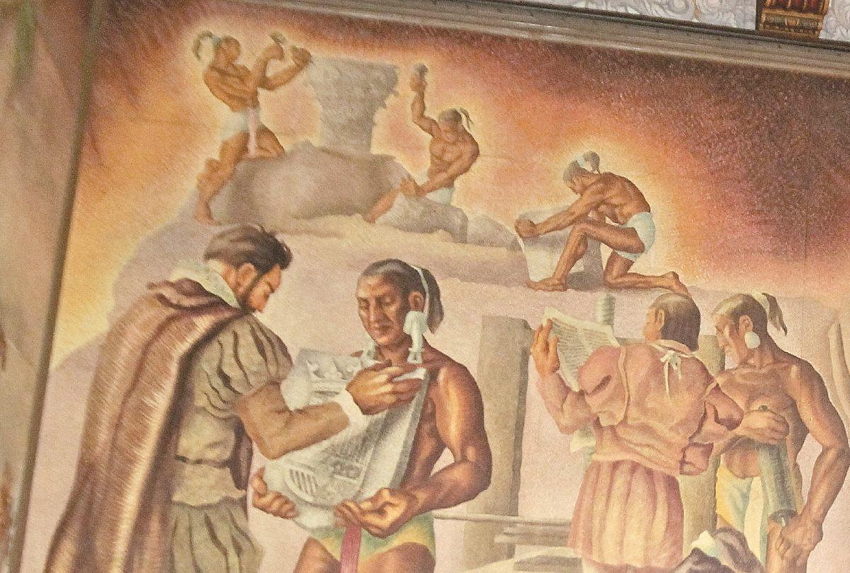 Uno de los murales del maestro Alfredo Gálvez Suárez en el Palacio Nacional de la Cultura. (Foto Prensa Libre: HemerotecaPL)