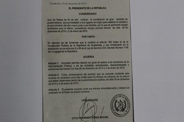 Con el Acuerdo 481-2014 se autorizó asueto para del Estado el 26 de diciembre y el 2 de enero. (Foto, Prensa Libre: Esbin García).