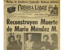 9/11/1965 Portada de Prensa Libre sobre la reconstrucción de hechos de la muerte de Mario Méndez. (Foto: Hemeroteca PL)