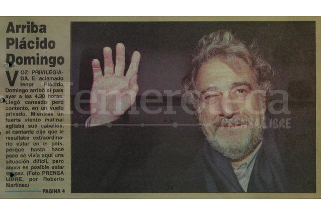 Detalle de la portada de Prensa Libre del 14 de marzo de 1998 informando sobre la llegada de Plácido Domingo al país. (Foto: Hemeroteca PL)