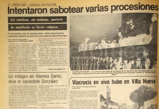 Nota de Prensa Libre del 4 de abril de 1983 informando sobre los atentados contra las procesiones de Semana Santa. (Foto: Hemeroteca PL)