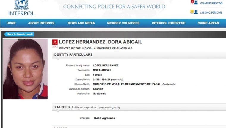"""Dora Abigaíl López Hernández, apodada """"la Negra"""", tenía orden de captura desde 2014. (Foto Prensa Libre: Cortesía)"""