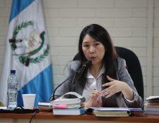La jueza Erika Aifán durante una audiencia en noviembre de 2017. (Foto Prensa Libre: Hemeroteca PL).
