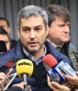 Mario Abdo Benítez da declaraciones a la prensa este jueves en Asunción, Paraguay.(EFE)