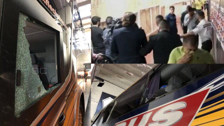 Así quedo el autobús de Boca Juniors después de ser atacado por aficionados de River Plate. (Foto Prensa Libre: Sports Center, ESPN)